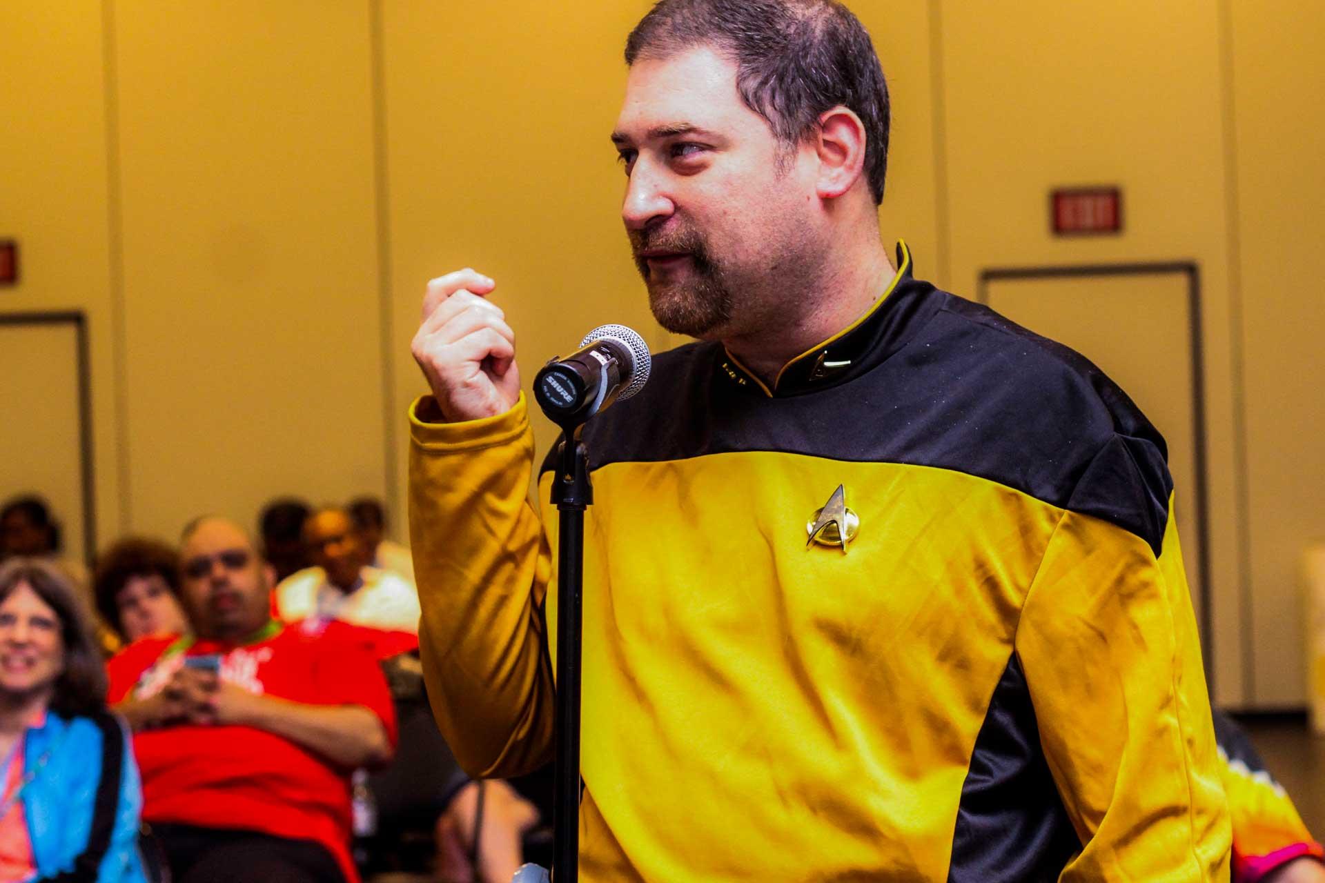 Guy with Start Trek costume talking